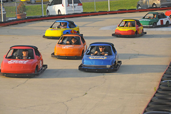 Group of go-karts on a track